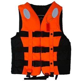 ZJchao Kinder und Erwachsene Schwimmweste Rettungsweste Gr. S/M/L/XL/XXL 10-110Kg (Orange, XL) -