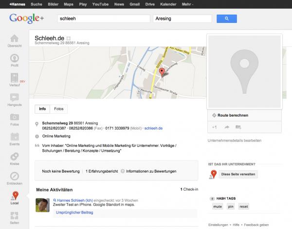 Schleeh.de als Google Local Seite