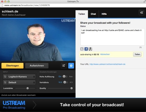Ustream Videostreaming