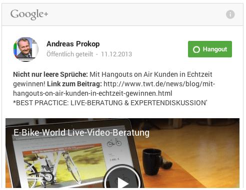 Screenshot vom ursprünglichen Google plus Post von Andreas Prokopp