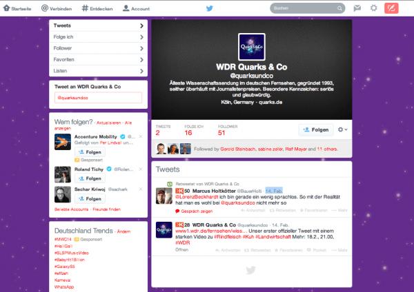Frischer Twitter Account von Quarks und Co mit dem ersten Tweet von Bauer Holti alias Marcus Holtkötter