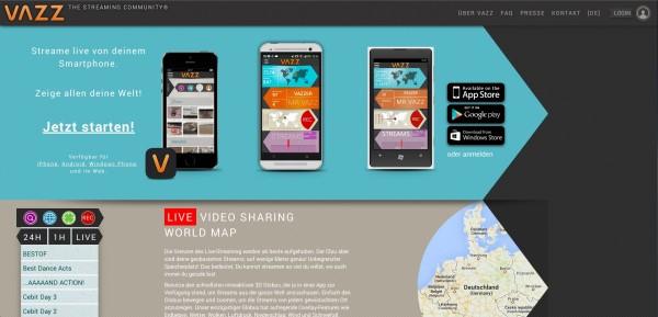 VAZZ Startseite Screenshot Hannes Schleeh