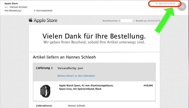 Bestellbestätigung Apple Watch