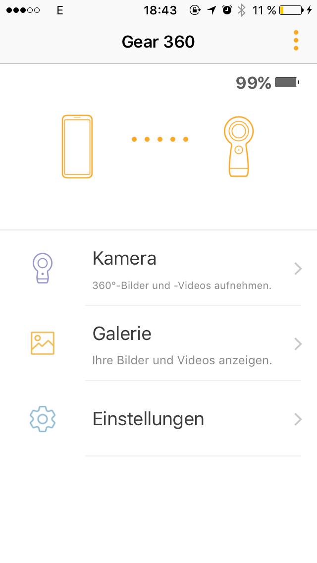 Gear 360 Software unter iOS