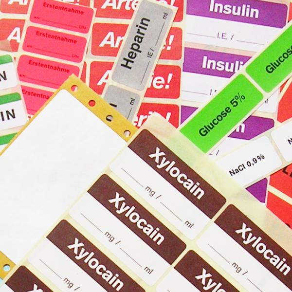 Pharmaetiketten von Schlegel Etiketten für verschiedene Medikamente
