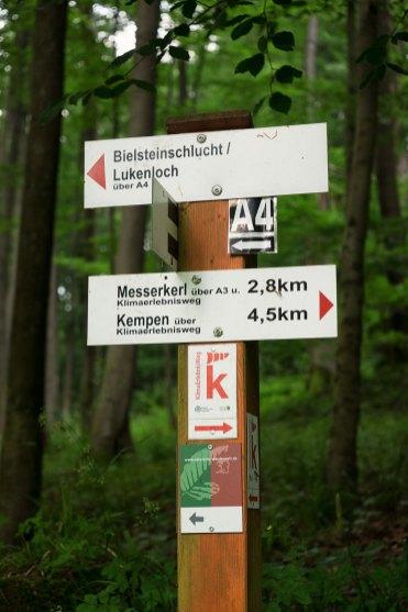 Unten das Wegezeichen Wildnis-Steig