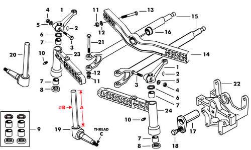 Schlepper-Teile » Shop Vorderachsbolzen englische Achse