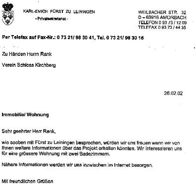 Wohnungsanfrage von Fürst zu Leiningen