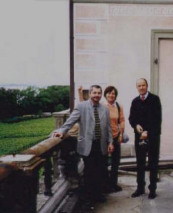 Rosi Mittermaier und Christian Neureuther während der Bauphase des Ostflügels