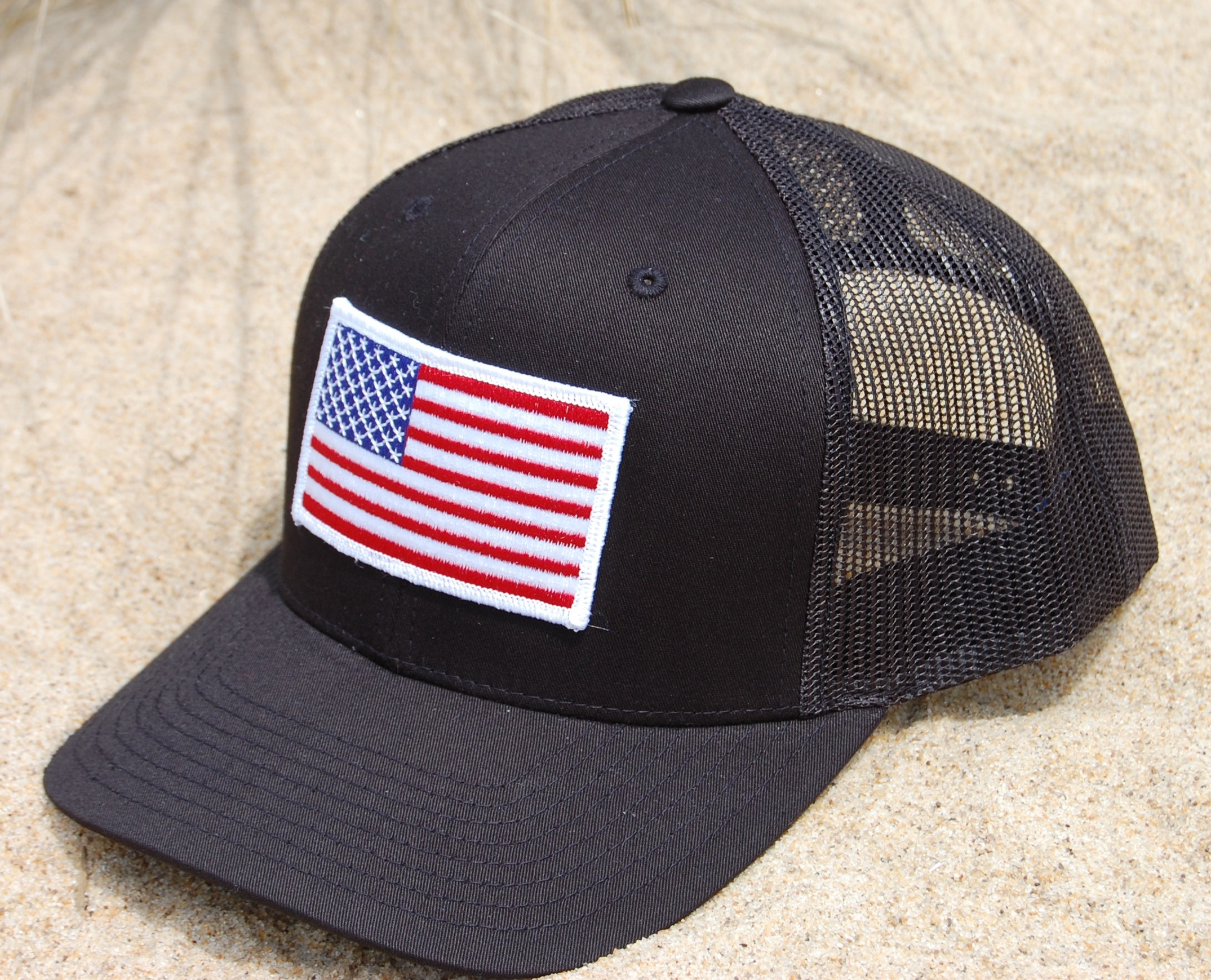 Trucker Patriot Hat Black- White or Gold Outline - Schmee 7f25372df31