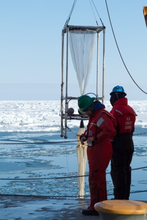 Deploying LOKI on the US Coast Guard Icebreaker Healy during the Stanford led SUBICE mission, May and June 2014. Chukchi Sea, Alaska, US. Credit: Takuvik