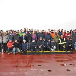 This year's group photo on the Amundsen. ArcticNet 2014 mission, leg 2a