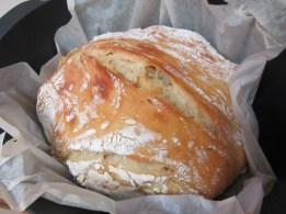 Rosemary-garlic-no-knead-bread in cast iron pot