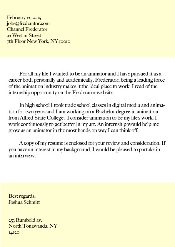 draft of resume cover letter