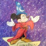 Colored Pencil Rendering of Sorcerer Mickey by Steven Walker.