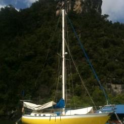 Fishing Village, Langkawi with Yellow Yacht Docking