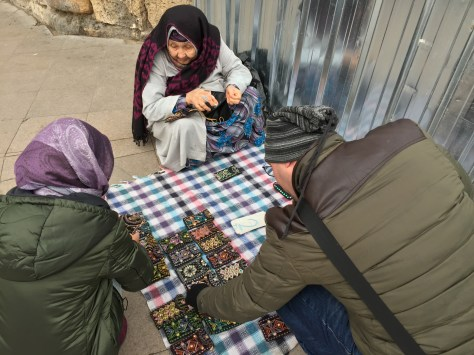 Istanbul Old Lady Street Seller Handmade Pouch - Me & another customer choosing