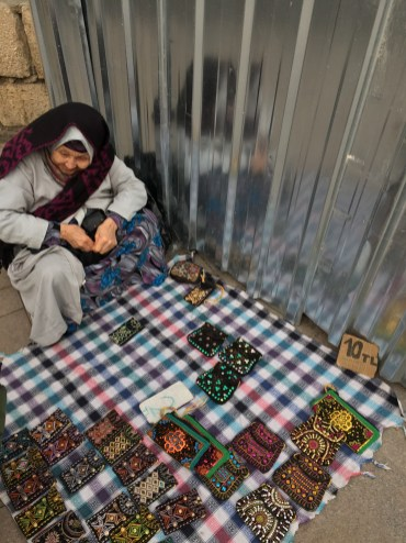 Istanbul Old Lady Street Seller Handmade Pouch - The Smile She gave me before I left