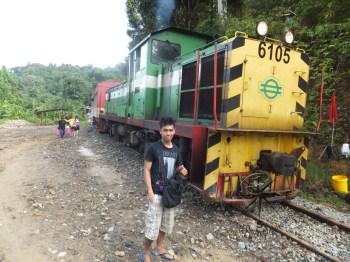 Sabah Padas Water Rafting Train Waiting for Train Change Rajib with Train 6105