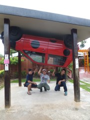 Rumah Terbalik, The Upside Down House of Borneo with 1 finger