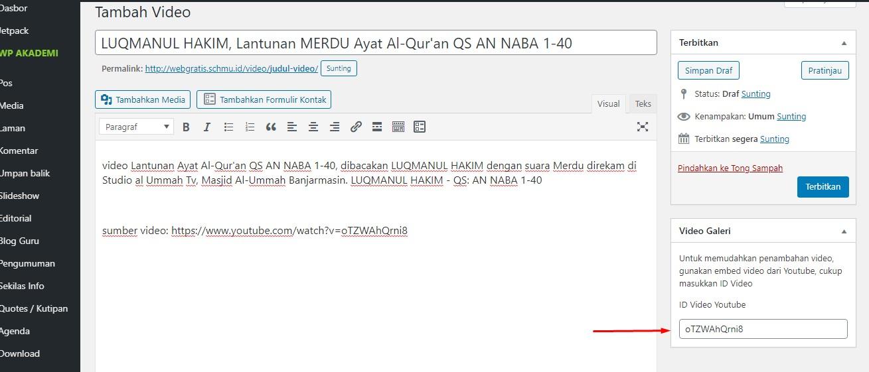 cara posting video youtube copy id video Cara Embed Video youtube di Website Sekolah