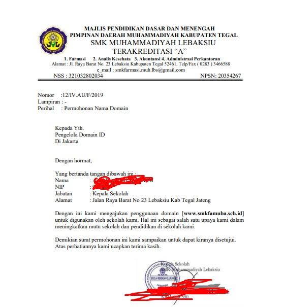 contoh surat permohonan domain 3 Syarat Pembelian Domain Sekolah sch.id