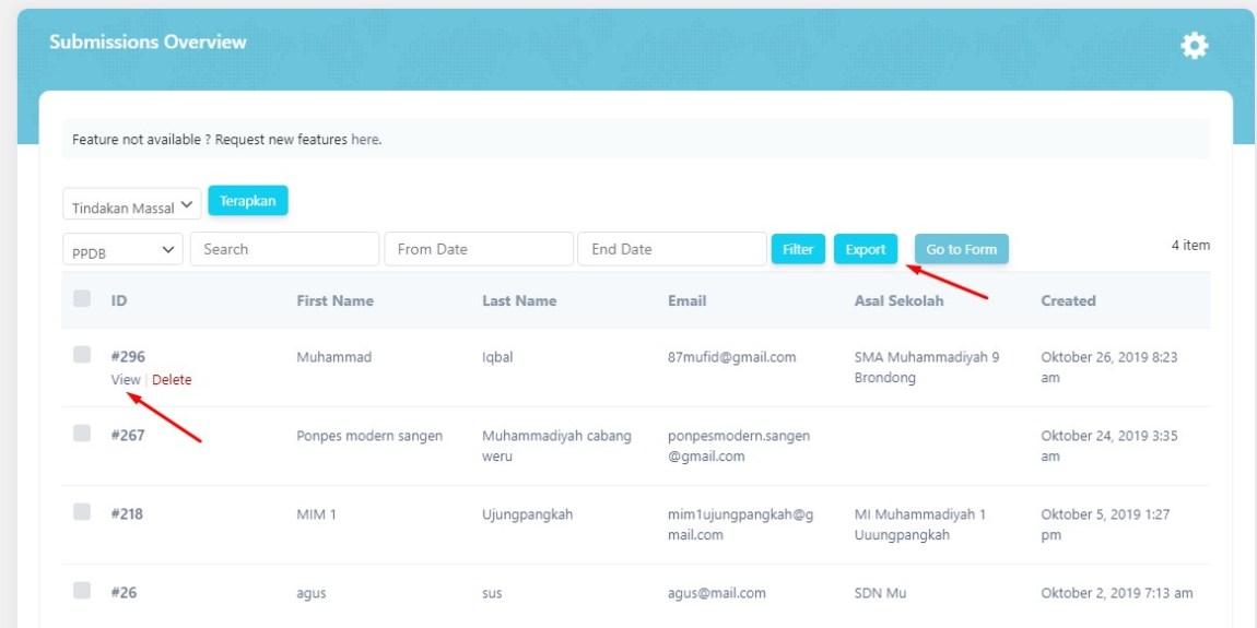 hasil ppd online bisa di ekspor Cara membuat PPDB Online di Wordpress, dengan Plugin ERForm