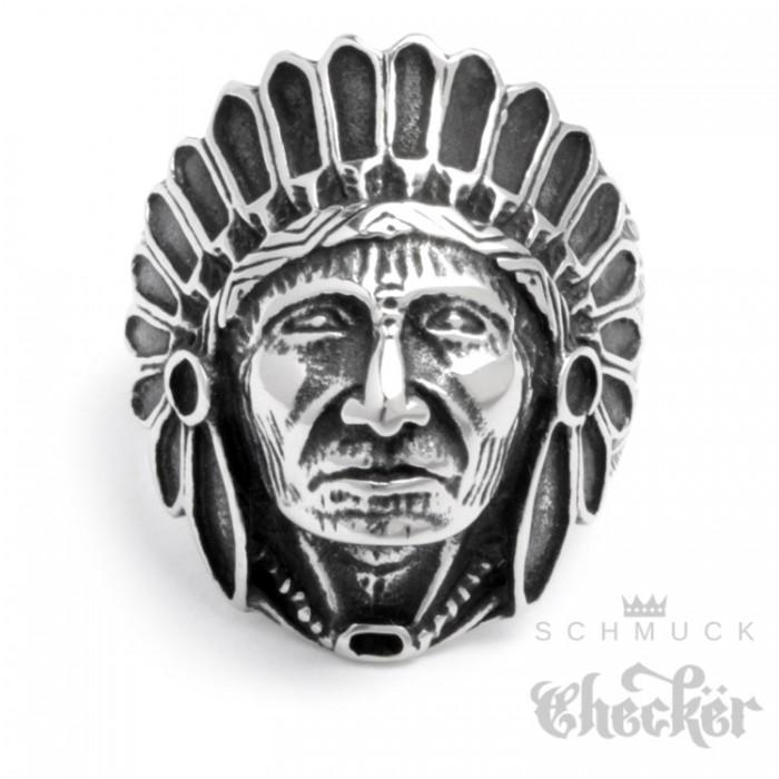 Edelstahl Ring groer Indianer Huptling Apachen Federschmuck detailliert silber  SchmuckChecker