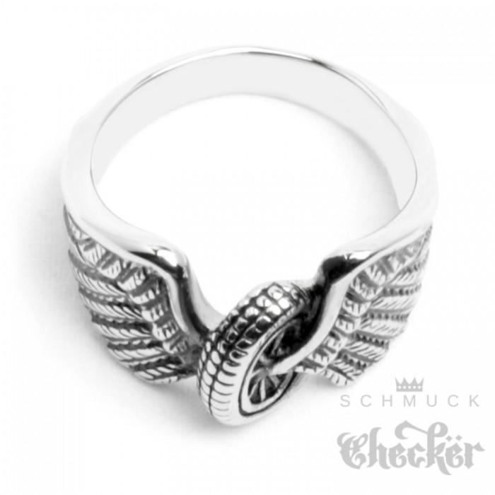 VORCOOL 925 Sterling Silber Ring mit Engels Flgel Herz  Verstellbar  edelbgde