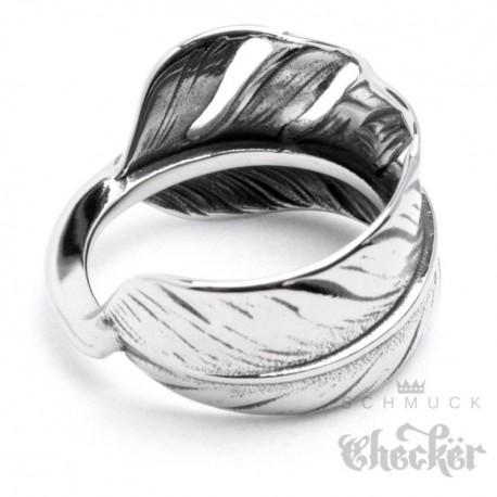 Edelstahl Ring Feder silber detailliert filigran Indianer Hippie Biker  SchmuckChecker