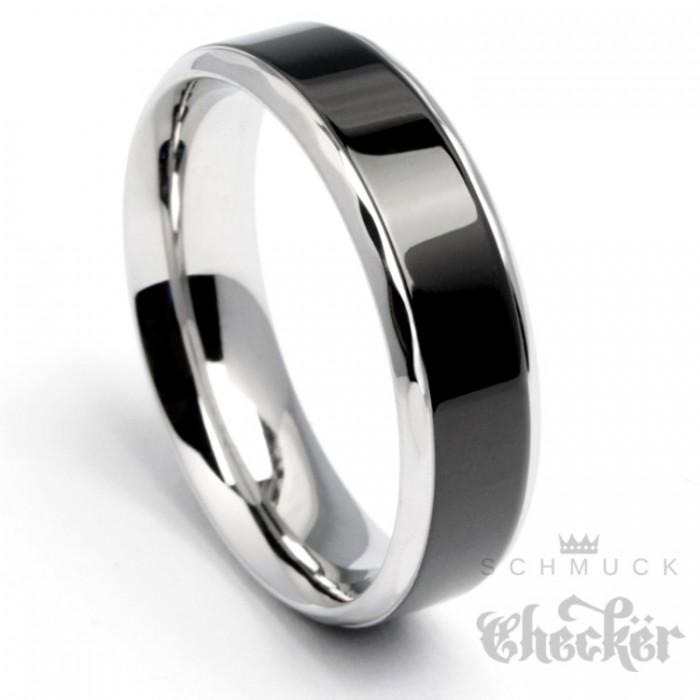 Edelstahl Herren Damen Ring schwarz silber hochwertig