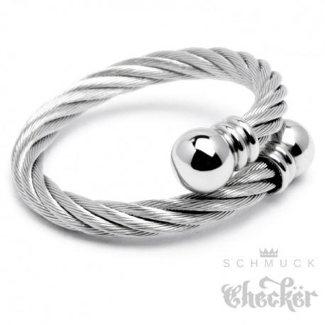 Flexibler Stahlseil Ring Aus Edelstahl Silber Damen Herren Wickelring Geschenk Schmuck Checker