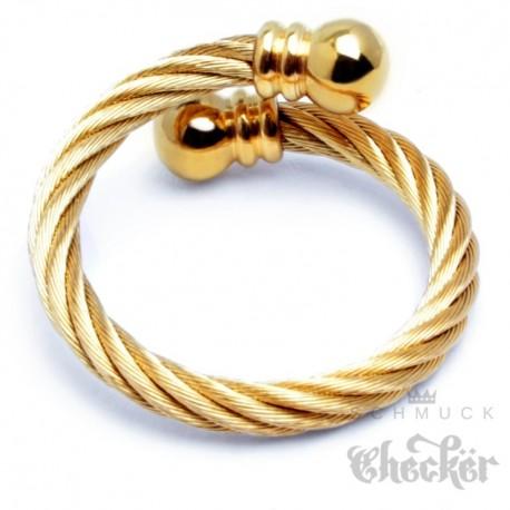 Edelstahl Ring Damen Herren flexibel gold ausgefallen Stahlseil Wickelring  SchmuckChecker