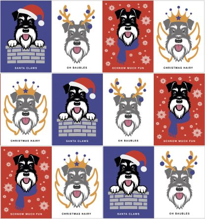 Schnauzer Christmas cards pack of 12 designs