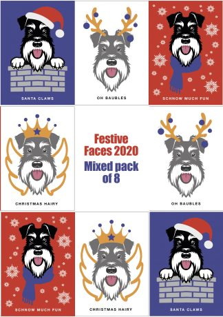 Schnauzer Christmas cards set of 8 designs