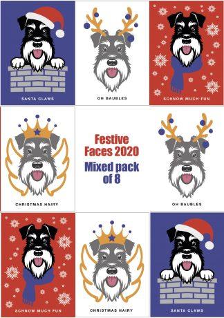 Schnauzer Christmas cards set of 8 designs