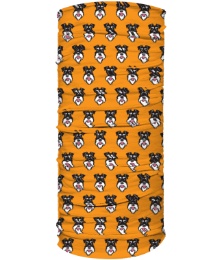 face covering head band silver and black schnauzer on orange background