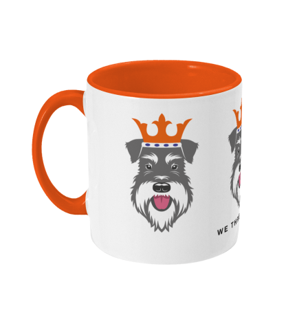 Christmas mug with Salt & Pepper schnauzer face kings - left
