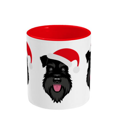 Schnauzer Christmas mug - All Black Santa Claws - centre