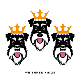 Schnauzer Christmas card - we three kings - Silver & Black
