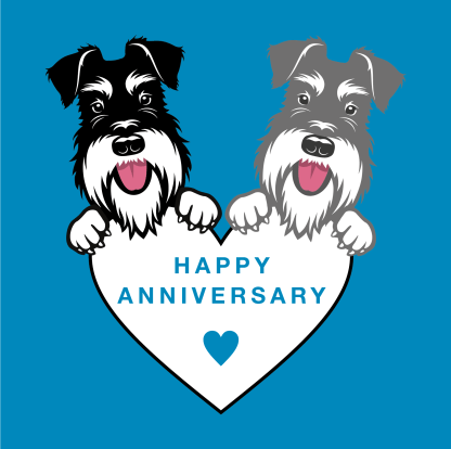 anniversary card blue