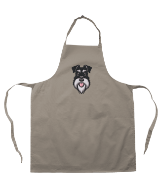 apron - taupe - silver and black embroidery