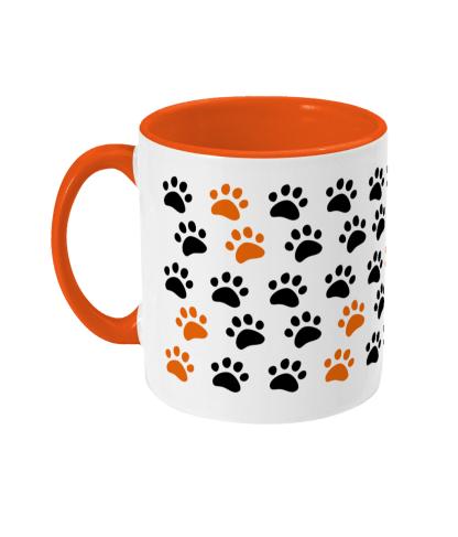 pawprint mug orange left view
