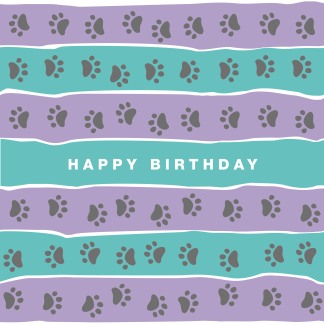 happy birthday card pawprint stripe lilac and turquoise