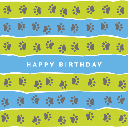 birthday card lime and blue stripe