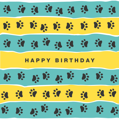 birthday card teal and yellow tripe