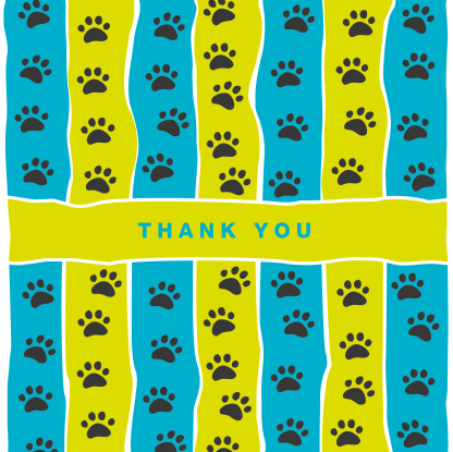 greetings card thank you blue and lime stripe