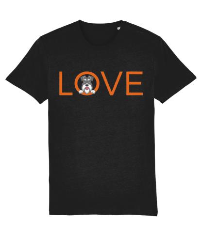 Black T-shirt orange letters salt and pepper dog flat