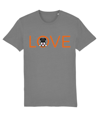 Grey T-shirt orange love silver and black dog flat