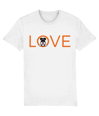 white T-shirt orange love word silver and black dog flat